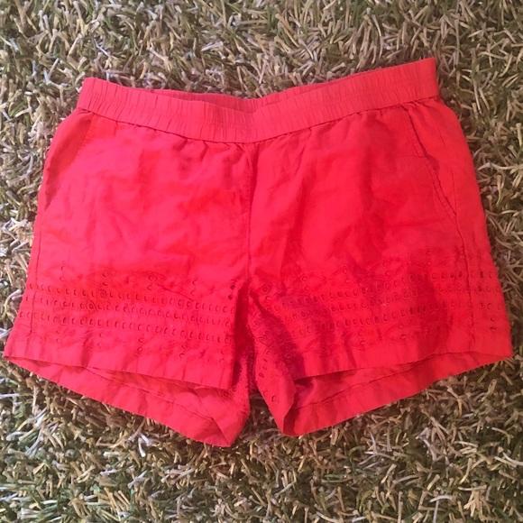 J. Crew Pants - J.Crew coral eyelet shorts
